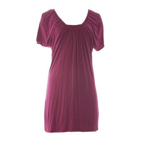 VELVET by Graham & Spencer Women's Short Sleeve Shift Dress Medium Plum (Plumb Dress)