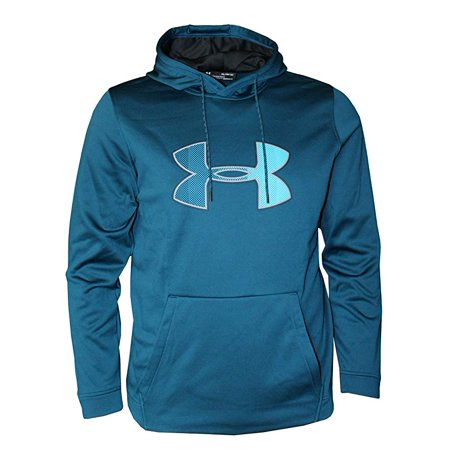 Under Armour Mens Cold Gear Ua Logo Graphic Logo Hoodie 1321734 Techno Teal (Camo Hoodies Under Armour)