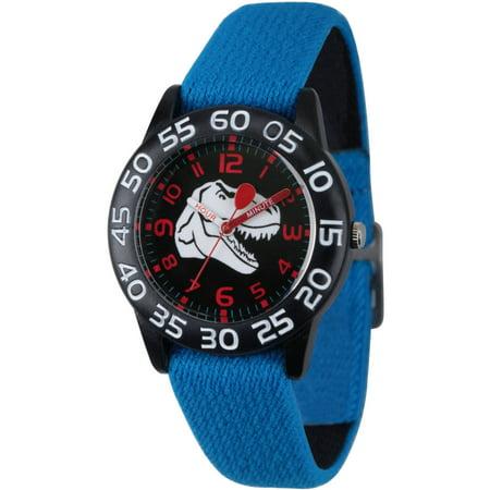 - Dinosaur Boys' Black Plastic Time Teacher Watch, Reversible Blue and Black Elastic Nylon Strap