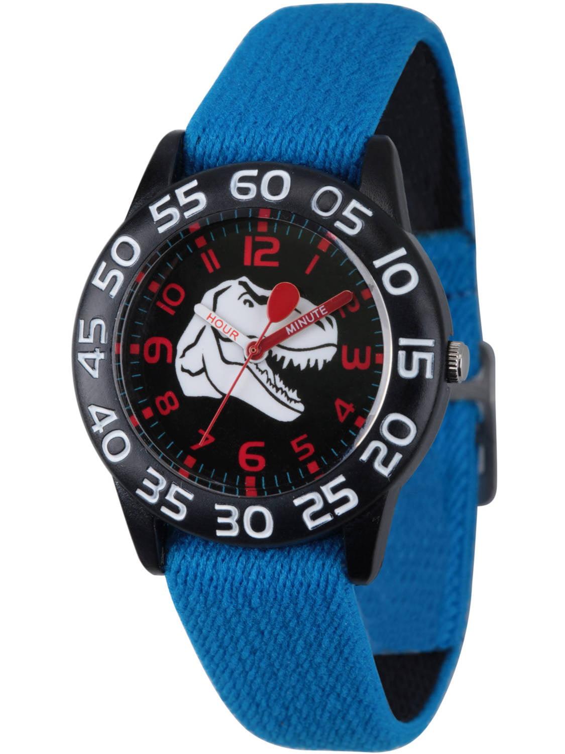 Dinosaur Boys' Black Plastic Time Teacher Watch, Reversible Blue and Black Elastic Nylon Strap