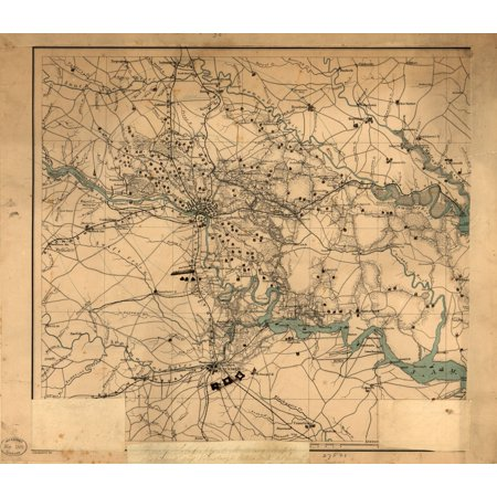 LAMINATED POSTER24x36 Hughes topographical military map of Richmond and Petersburgh sic cities with adjacent country in perspective showing the rebel fortifications