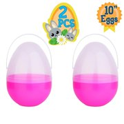 Playoly 2 Pink Jumbo 10Inch Easter Egg with Handle - The Perfect Size For Holding Toys, Candy Bars, And Stuffed Animals - Easy To Open, Tough To Break - Great As Party Favors And Easter Basket Stuffer