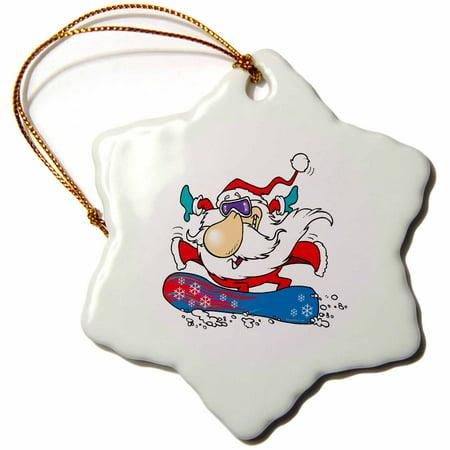 3dRose Cool Dude Snowboarding Santa Claus - Snowflake Ornament, - Santas Paper Snowflake Studio