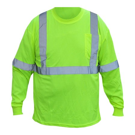Class 2 Long Sleeve Shirt. Safety Green With Reflective Tape. Part Number 9051LONG-L. Size Large
