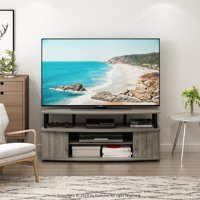 Furinno JAYA Large Entertainment Center Hold up to 55-IN TV, French Oak Grey/Black