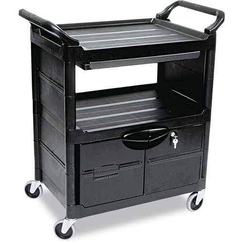 Rubbermaid Commercial Black 2 Shelf Utility Cart With Locking Doors