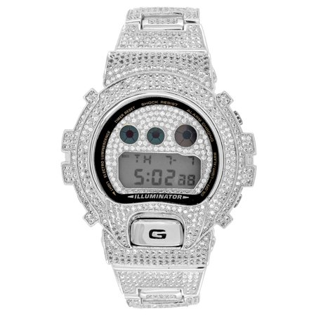 Designer G Shock Watch Iced Out Black Finish DW6900 Simulated Diamonds (Iced Out G-shock Watch)