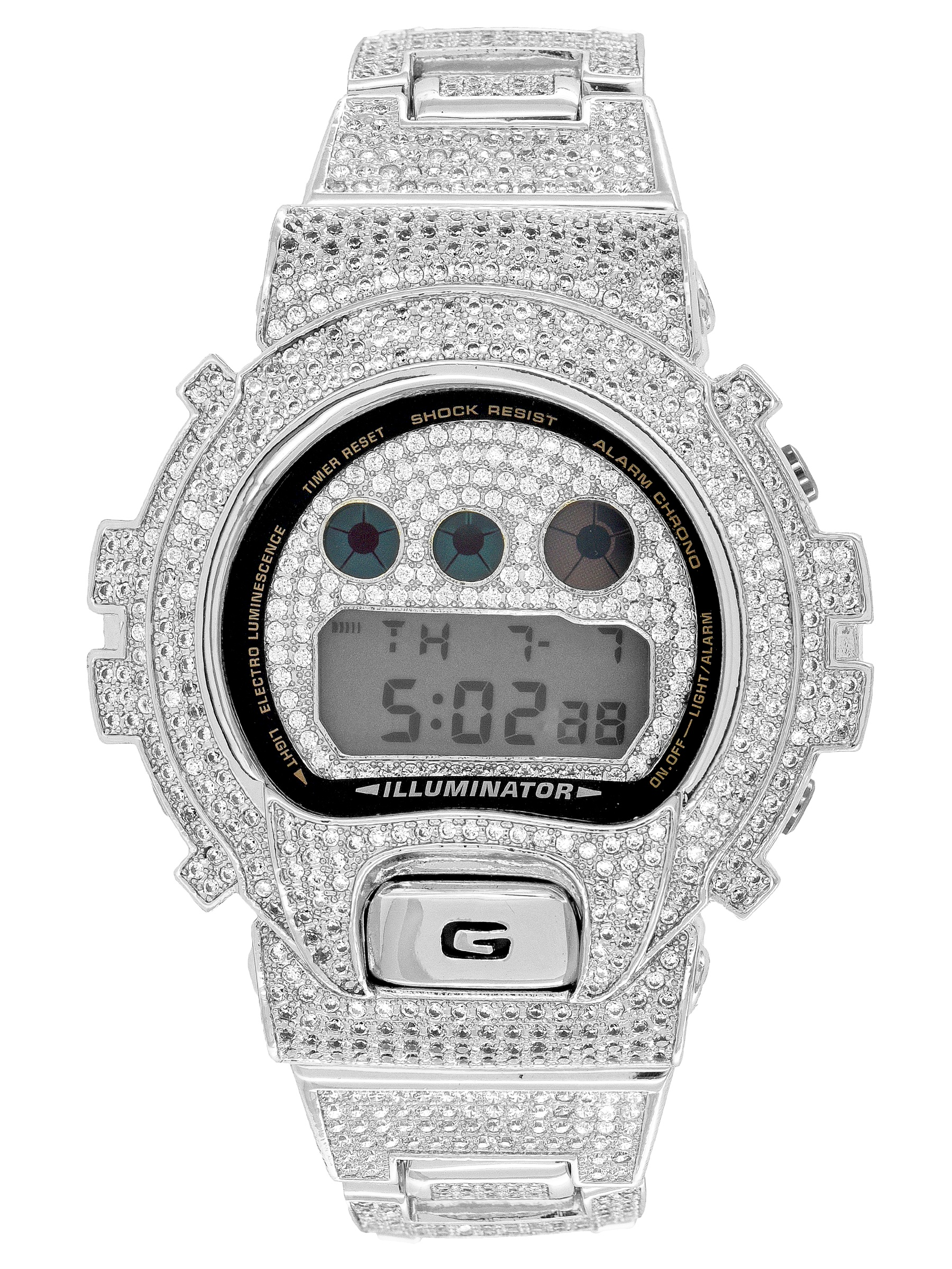 Designer G Shock Watch Iced Out Black Finish DW6900 Simulated Diamonds Sale
