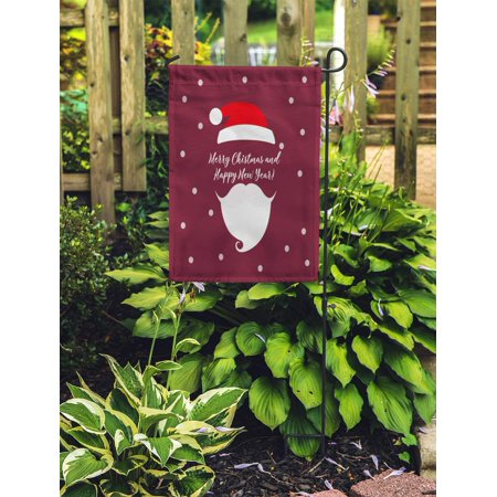 JSDART Red Abstract Merry Christmas Santa Claus Hat and Beard Applique Garden Flag Decorative Flag House Banner 12x18 inch - image 2 of 2