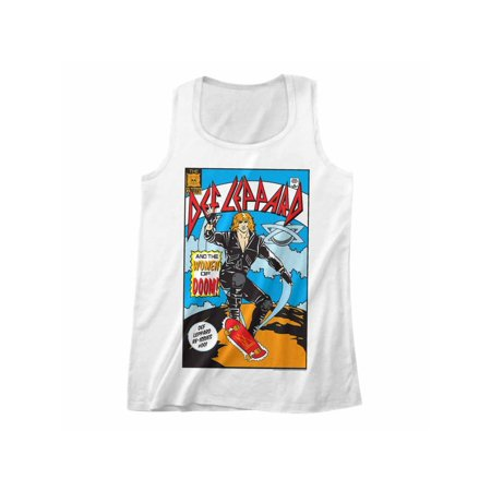 Def Leppard 1980s Heavy Hair Metal Band Comic White Adult Tank Top (1980s Shorts)