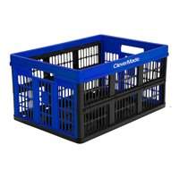 CleverMade CleverCrate Plastic 45L Collapsible Storage Bins, Royal Blue (3-Pack)