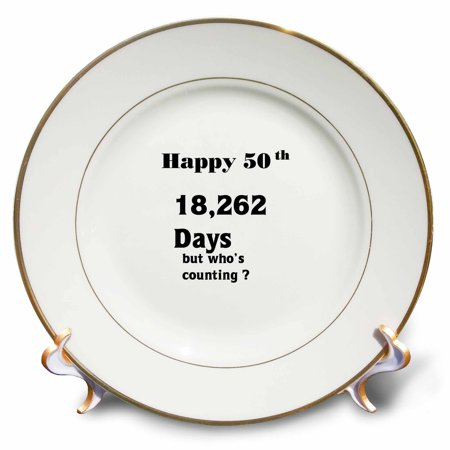 3dRose Print of Funny 50th Birthday Or Anniversary, Porcelain Plate, (Fully Porcelain)
