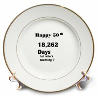 3dRose Print of Funny 50th Birthday Or Anniversary, Porcelain Plate, 8-inch