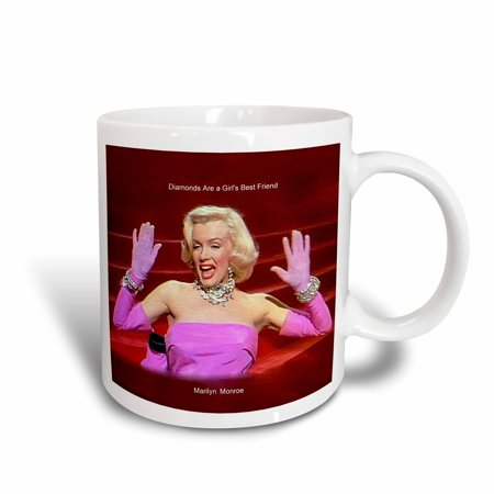 3dRose Marilyn Monroe Singing Diamonds Are a Girls Best Friend (textured) (PD-US), Ceramic Mug, (Girl Best Friend Images)
