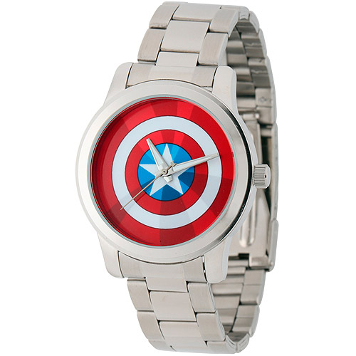 Marvel Captain America Men's Casual Alloy Watch, Silver Bracelet