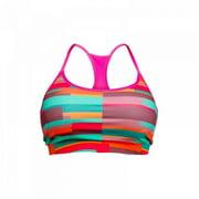 Stronger RX Pink Pattern Womens Sports Bra, Large