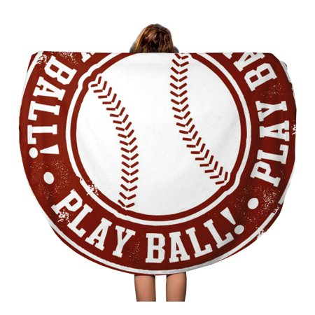 Travel Ball Series - KDAGR 60 inch Round Beach Towel Blanket Vintage Play Ball Baseball Softball Stamp Series World College Travel Circle Circular Towels Mat Tapestry Beach Throw