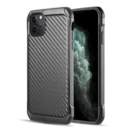 TOUGH HYBRID CASE BLACK TPU+BLACK PC WITH CARBON FIBER FINISHFOR IPHONE 11 PRO MAX - image 1 of 1
