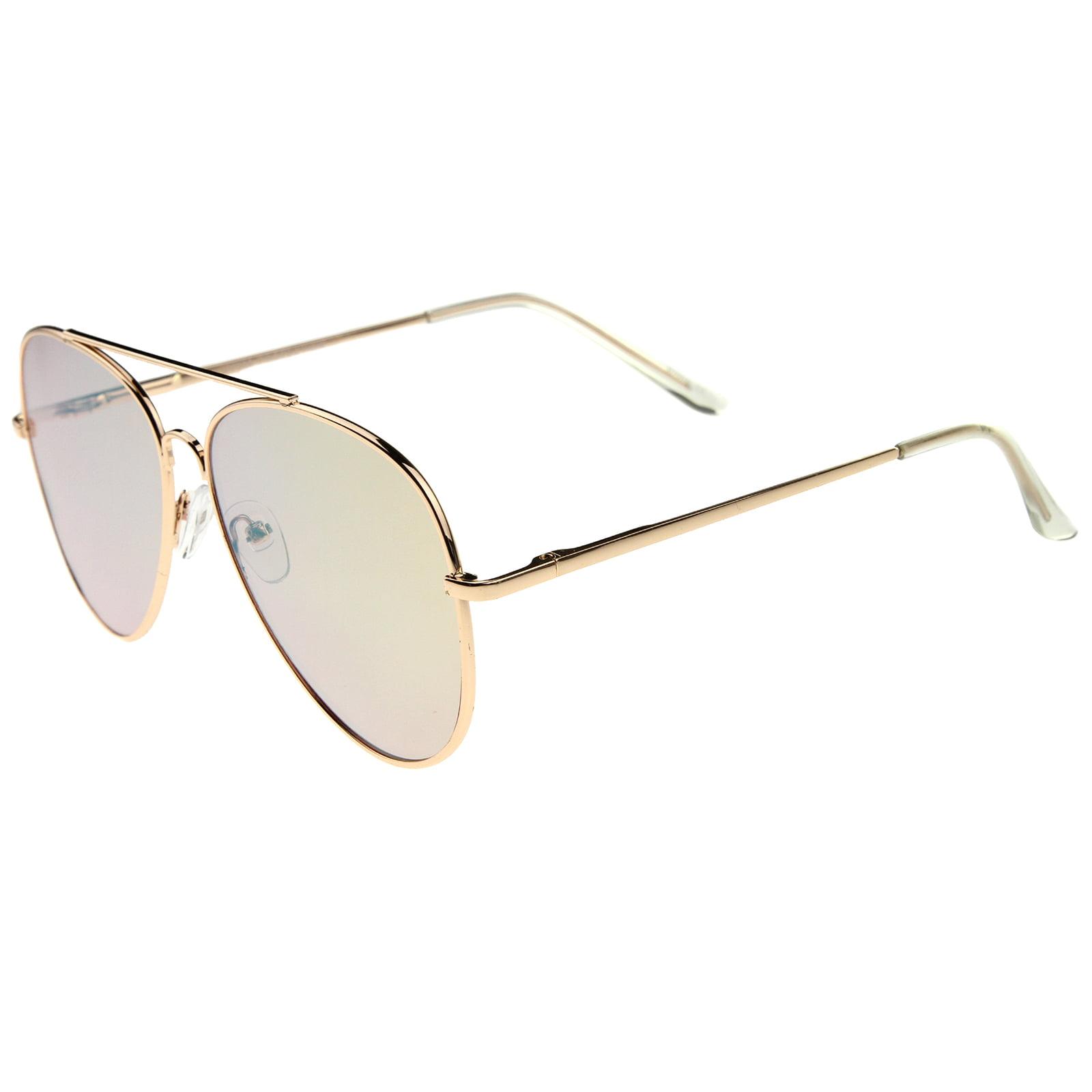 88551a6412 sunglass.la - sunglassLA - Large Metal Rose Gold Frame Pink Mirror Flat  Lens Aviator Sunglasses - 60mm - Walmart.com