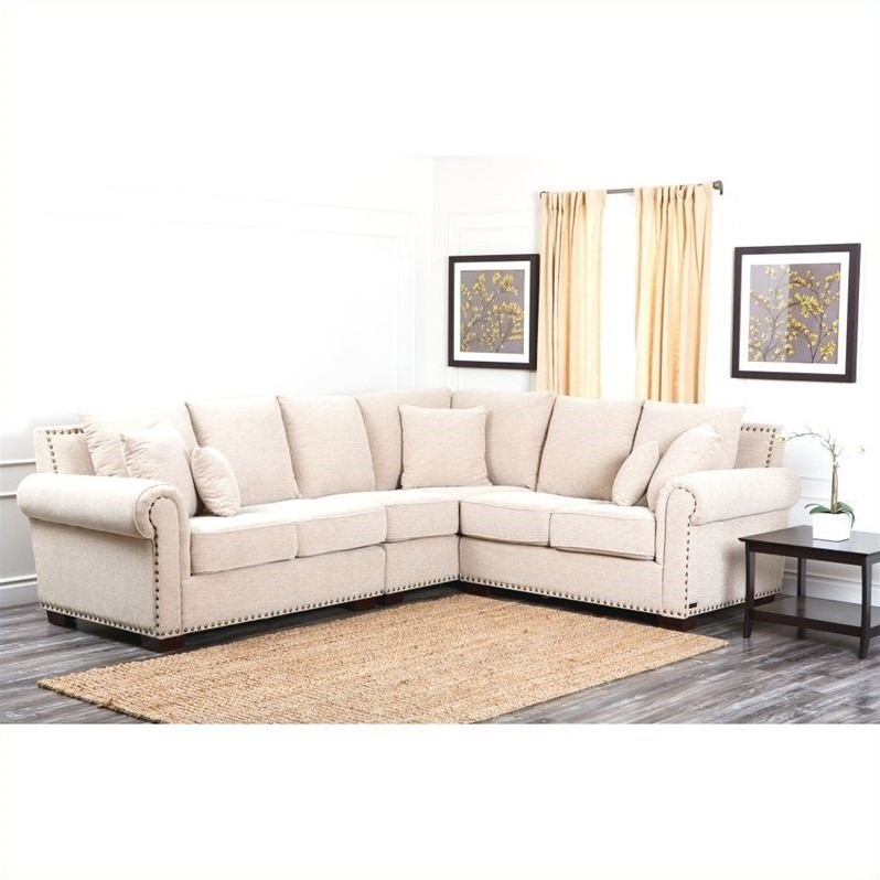 Delicieux Abbyson Living Bromley Fabric Nailhead Sectional Sofa In Sandstone