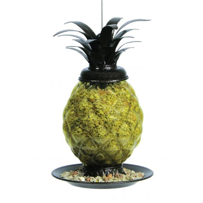Belle Fleur Welcome Pineapple Bird Feeder with 4 Feeding Ports, 2.1 lb Seed Capacity