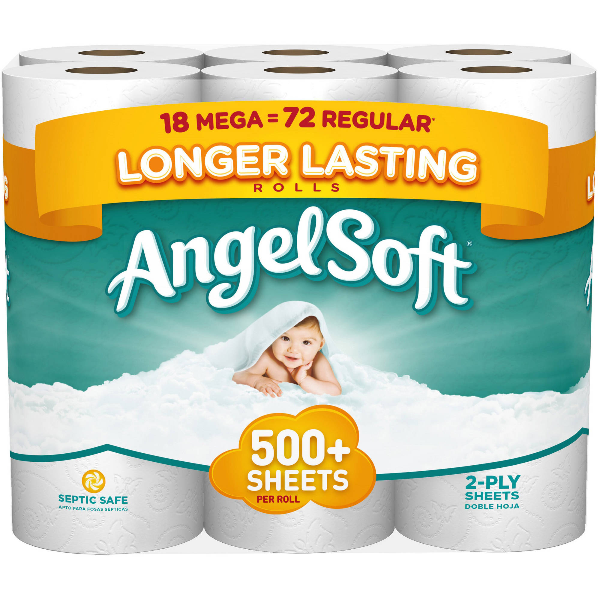 Angel Soft Toilet Paper, 18 Mega Rolls, Bath Tissue