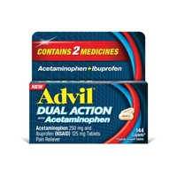 Advil Dual Action Coated Caplets with Acetaminophen, 250 Mg Ibuprofen and 500 Mg Acetaminophen Per Dose (2 Dose Equivalent) for 8 Hour Pain Relief - 144 Count