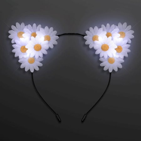 LED Daisy Flowers Cat Animal Ears Headband by Blinkee