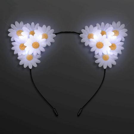 LED Daisy Flowers Cat Animal Ears Headband by Blinkee](White Cat Ears)