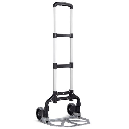 Gymax Folding Hand Truck Dolly Aluminum 176 lbs Capacity Heavy Duty with 2