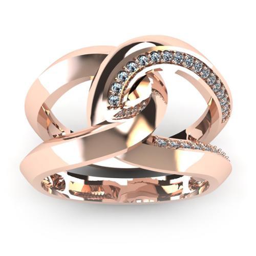 Super Bold And Gorgeous 14K Rose Gold 1/4 Carat Diamond Band (I-J, I1-I2) Size 7