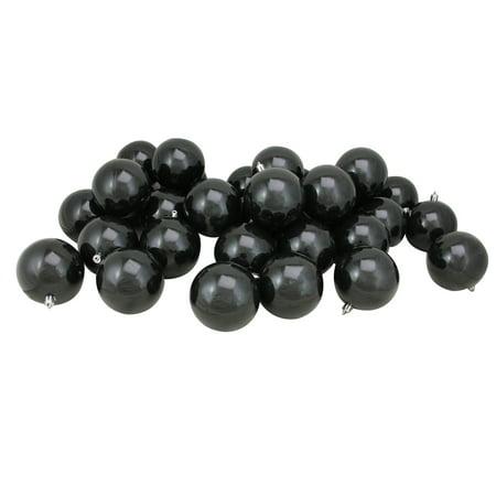 96ct Shatterproof Shiny Jet Black Christmas Ball Ornaments 3.25