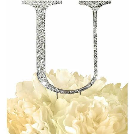 Unik Occasions Collection Rhinestone Wedding Cake Topper, Silver