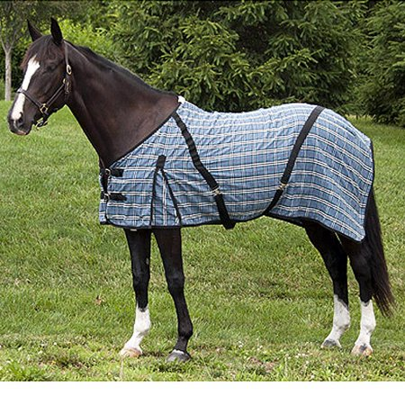 Cotton Blanket Covers - 54 inch HILASON WESTERN HORSE POLY COTTON BLUE PLAID DAY SHEET COVER BLANKET