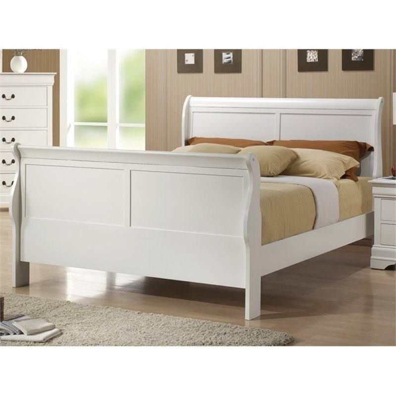 Bowery Hill Queen Sleigh Bed in White by Bowery Hill