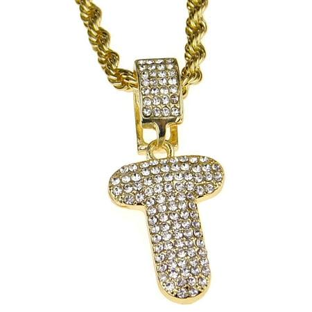Cut Out Monogram Necklace (Bubble Letter T Block Initial 24