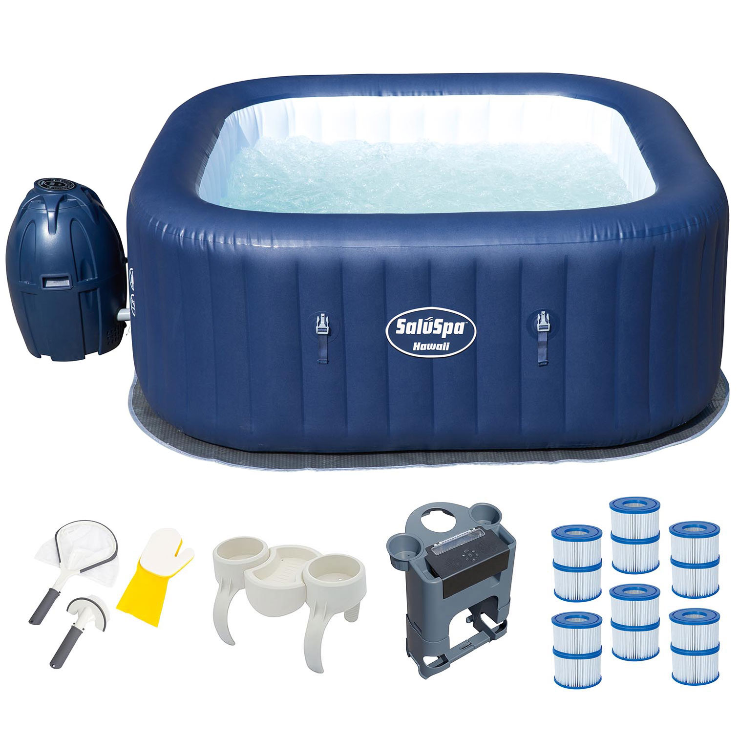 Bestway 6 Person Inflatable Hot Tub + Music Center + 6 Fi...