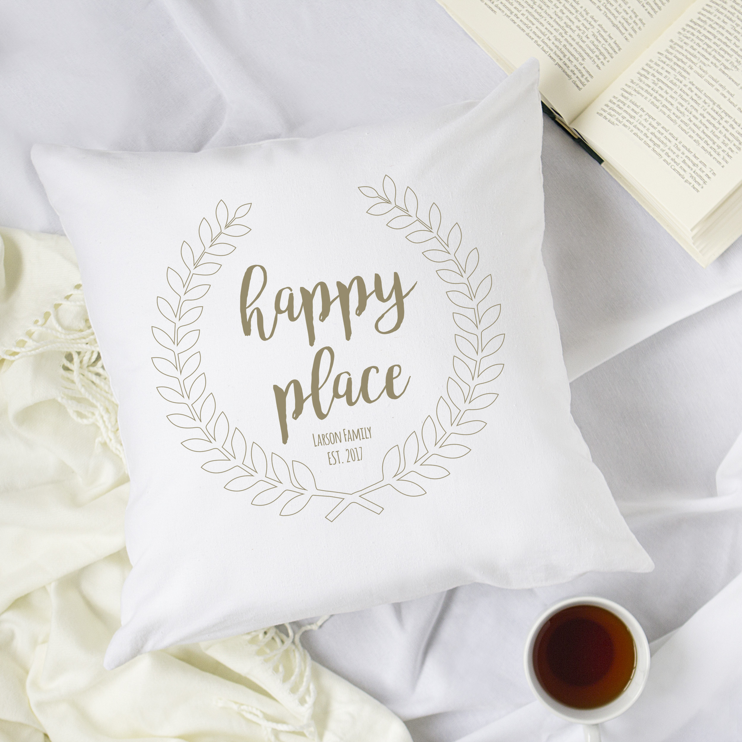"""Personalized Happy Place 16"""" Throw Pillow"""