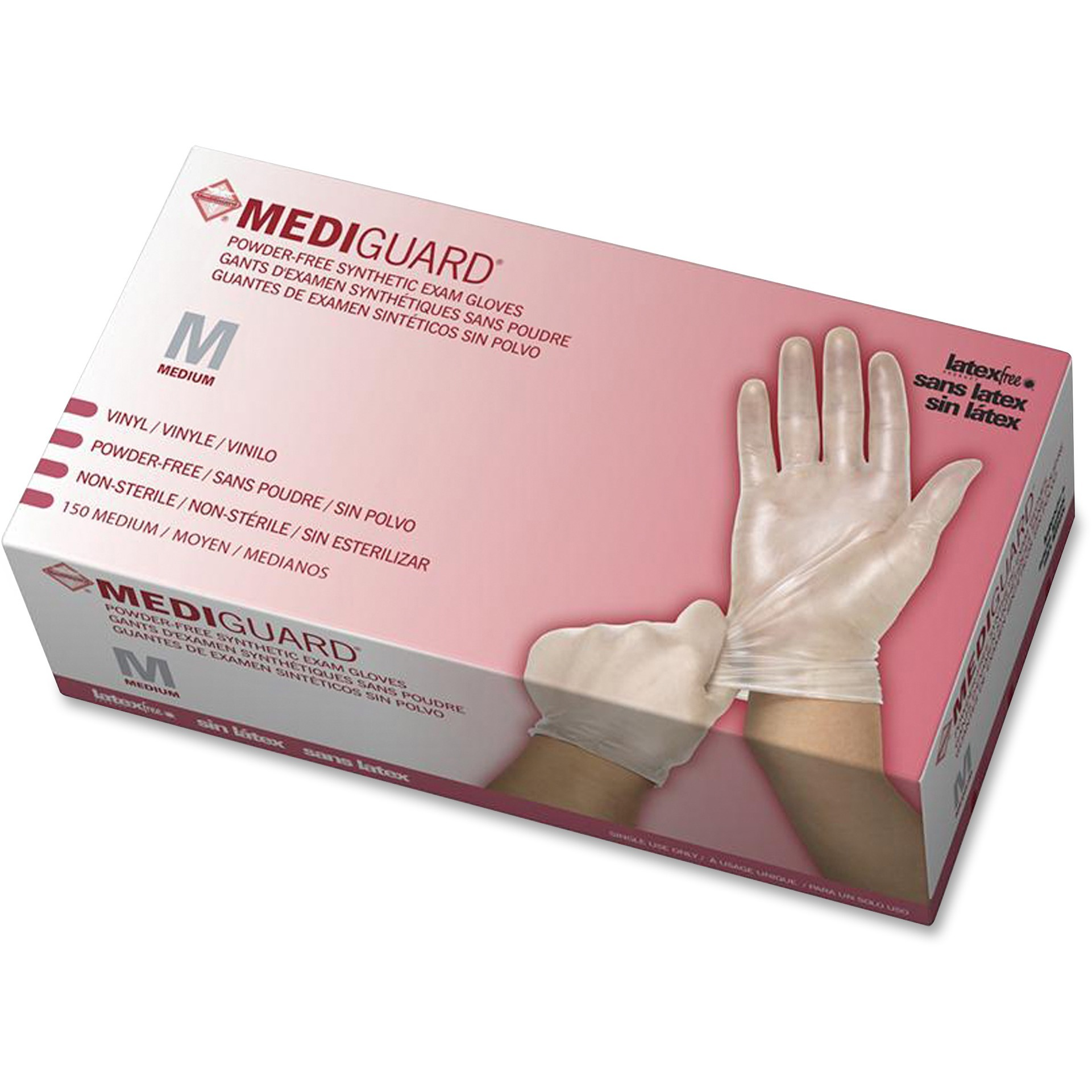 Medline, MII6MSV512, MediGuard Vinyl Non-sterile Exam Gloves, 150 / Box, Clear