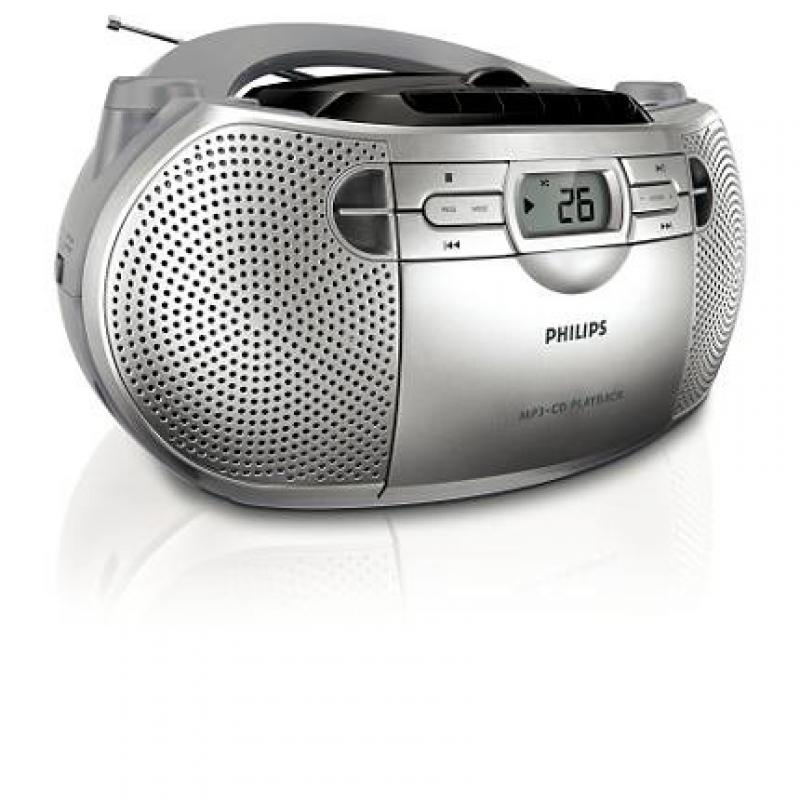 Philips AZ-1047 Boombox Sound Machine MP3 CD Player, Plays CD-R RW with AM FM Stereo Radio, Cassette Player... by Philips