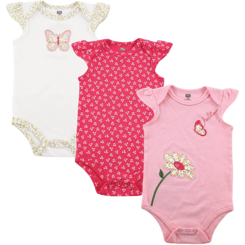 Hudson Baby Newborn Baby Girls Bodysuit 3-Pack - Butterfly