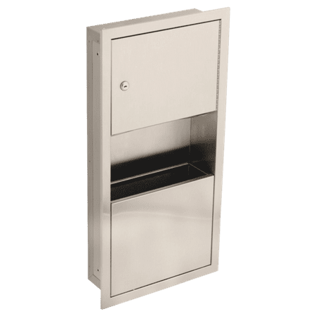 Delta Small Stainless Steel Recessed Towel Dispenser and Waste Receptacle Brushed Stainless Steel