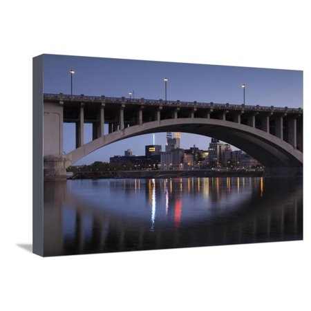 Third Ave, Bridge and Mill City, Stpaul, Minneapolis, Minnesota, USA Stretched Canvas Print Wall Art By Walter Bibikow