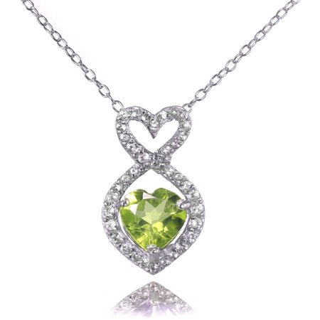Peridot and White Topaz Sterling Silver Infinity Heart Necklace