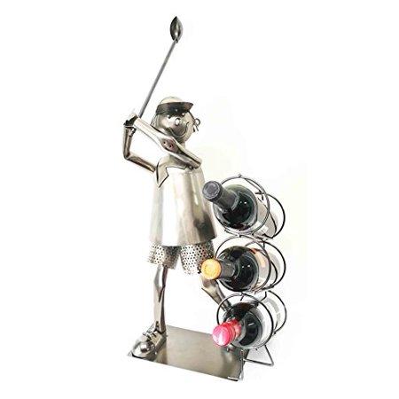 Professional Golfer Driving Range Swing Hand Made Metal Three Wine Bottle Holder Caddy - Metal Heavy Duty 3 Hole