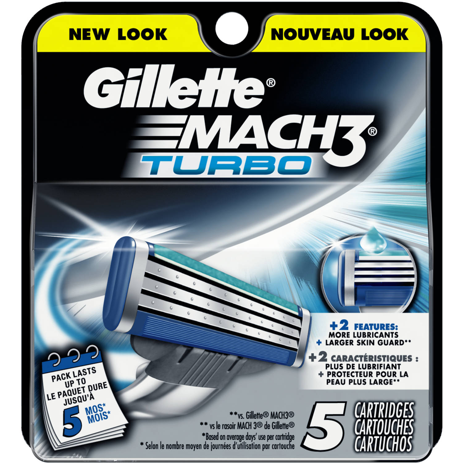 Gillette Mach3 Turbo Cartridges, 5 count