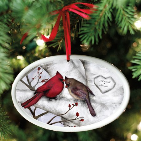 Couple Personalized Christmas Ornament (Personalized Loving Cardinals Couple Christmas)
