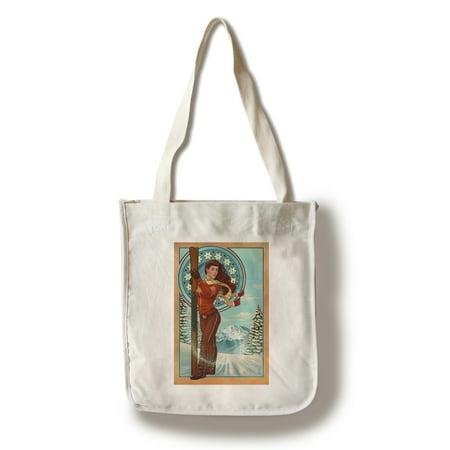 Art Nouveau Skier - Lantern Press Poster (100% Cotton Tote Bag - Reusable) - Art Tote