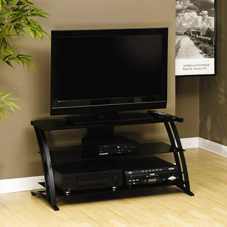 sauder black tv stand for tvs with bases up to 39. Black Bedroom Furniture Sets. Home Design Ideas