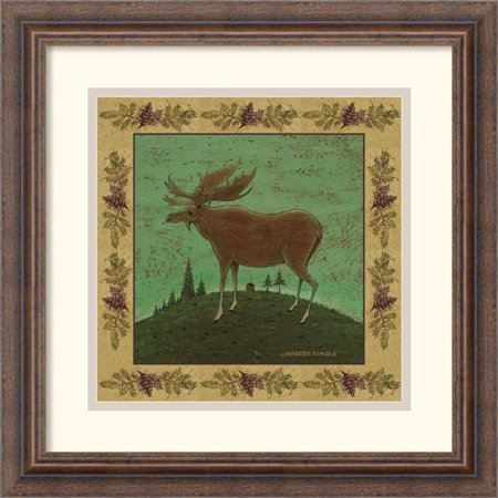 Amanti Art 'Folk Moose' by Warren Kimble Framed Painting Print